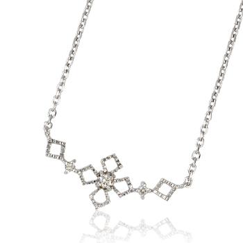 K18金WG (ホワイトゴールド)クローバーデザイン・ダイヤモンドネックレス・送料無料