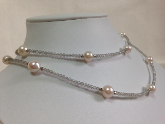 アコヤ本真珠(15珠:約8~8.5mm)・ラブラドライト・ロングネックレス・約85cm