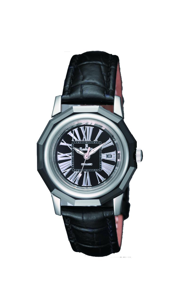 ロマネッティ腕時計・10年電池・牛革型押バンド・(カラーブラック)レディース(女性用)送料無料