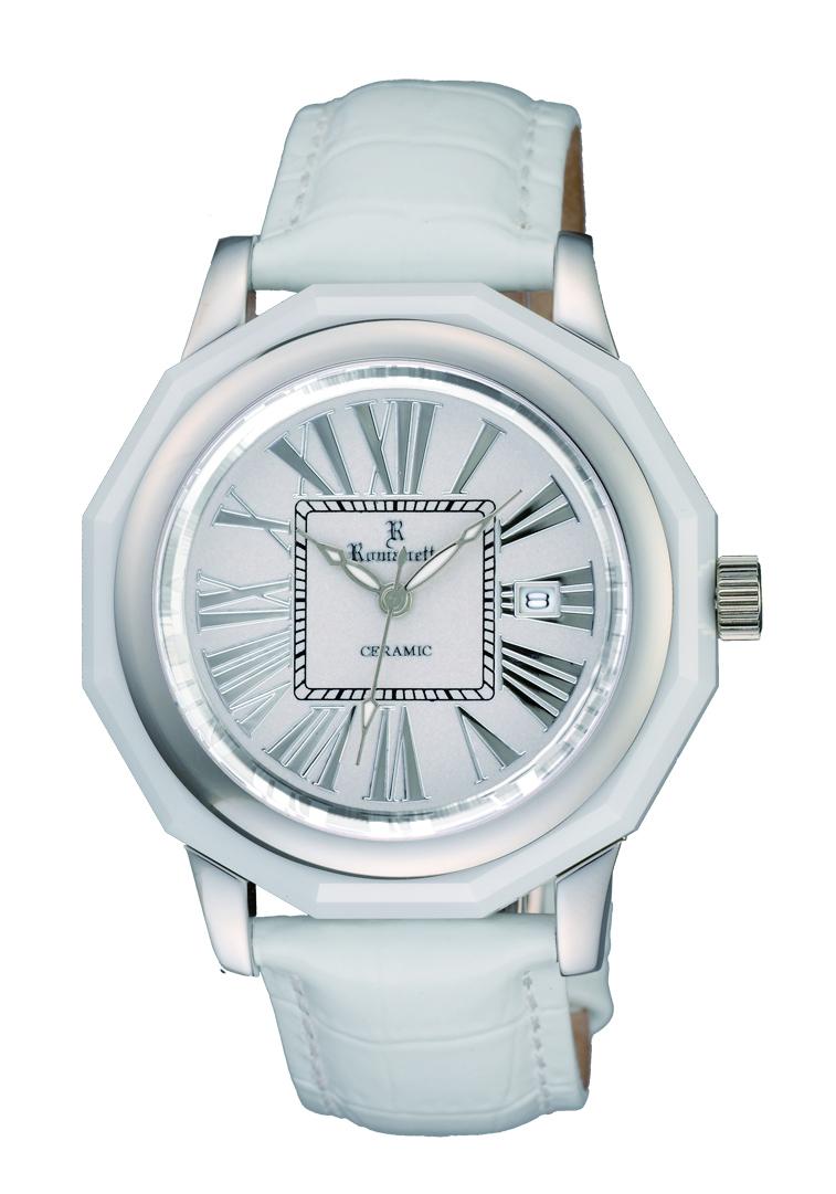 ロマネッティ腕時計・10年電池・牛革型押バンド・(ホワイト)メンズ(男性用)送料無料