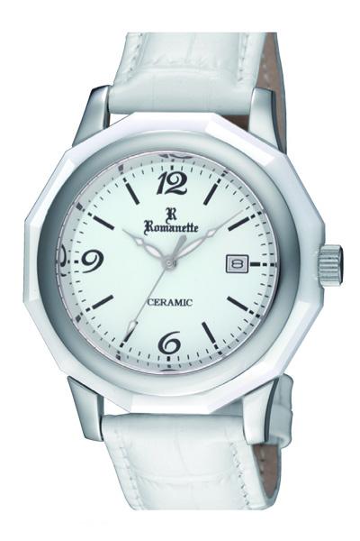 ロマネッティ 腕時計・10年電池・牛革型押バンド・(ホワイト)メンズ(男性用)送料無料
