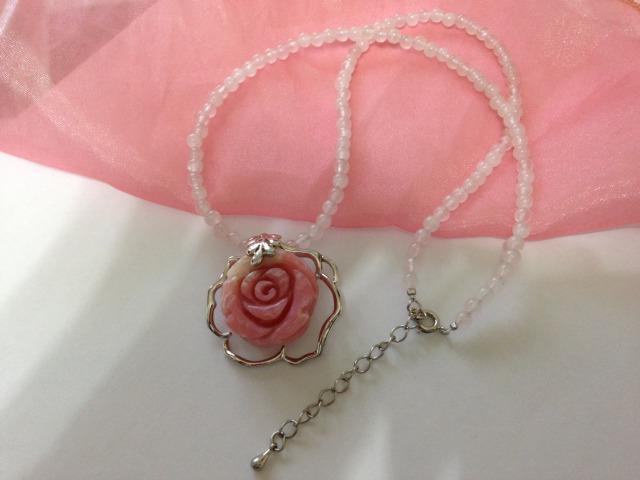 ピンクオパール(薔薇)ローズクォーツネックレス・送料無料