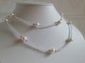アコヤ本真珠・ホワイトトパーズロングネックレス・約86cm・こちらは3割引き!49,000円→34,300円ご注文後割引金額お知らせします。