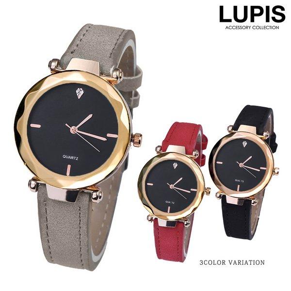 ブラックダイヤルマットレザーベルトウォッチ・腕時計