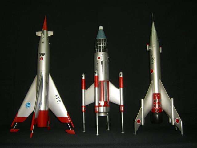 ヒルマモデルクラフト/東宝特撮プロップ 奇跡のロケット3機セット