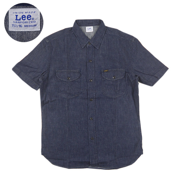 Lee リー 半袖 デニム ワークシャツ インディゴ リンス LT0635 【メール便可】【半袖シャツ】 -JOE-