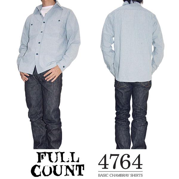 FULLCOUNT フルカウント BASIC CHAMBRAY SHIRTS ベーシック シャンブレーシャツ ハードウォッシュ 4764HW -JOE-
