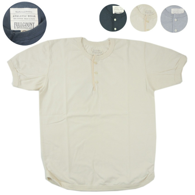 FULLCOUNT フルカウント ヘンリーネック フラットシーム Tシャツ FLAT SEAM HEAVY WEIGHT HENLEY TEE 5222H  【半袖Tシャツ】 【メール便可】 -JOE-