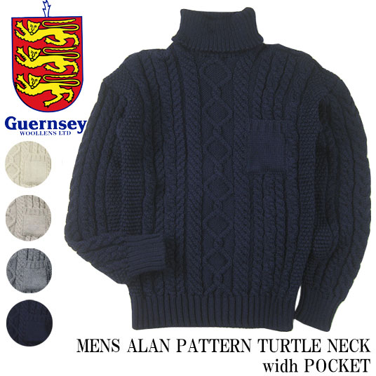 GUERNSEY WOOLLENS ガンジーセーター タートルネック with ポケット アランニット MENS ALAN PATTERN TURTLE NECK width POCKET G16FK-08M 【off price】 -JOE-