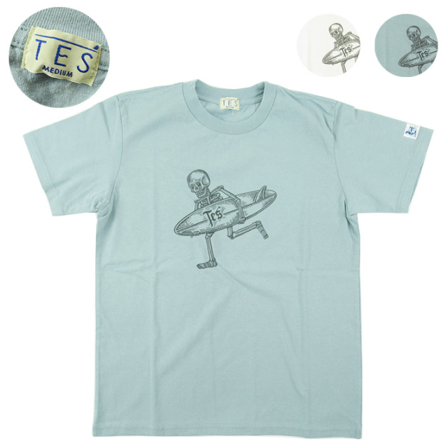 TES エンドレスサマー サーフ Tシャツ WOOD BLOCK PRINT SKULL SURFER TEE  NV-0574321 【半袖Tシャツ】 【メール便可】 -JOE-