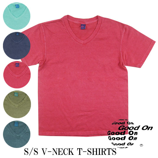 Good On グッドオン Vネック 半袖Tシャツ ピグメントダイ V-NECK-SS  【半袖Tシャツ】 【メール便可】 -JOE-