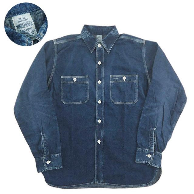 WAREHOUSE ウエアハウス 2ND-HAND デニム ワークシャツ ユーズドウォッシュ DENIM WORK SHIRTS(USED WASH) -JOE-