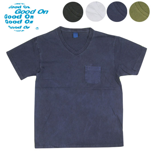 Good On グッドオン Vネック ポケット半袖Tシャツ ピグメントダイ V-NECK-POCKET-SS  【半袖Tシャツ】 【メール便可】 -JOE-