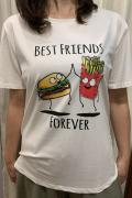 """Italy ハンバーガー & フレンチフライ """"Best Friend Forever""""  半袖 Tシャツ"""