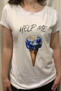 """Italy """"Help Me"""" メルティング アース 半袖 Tシャツ"""