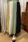 8枚ハギ 柄 配色 切り替え ロング 消しプリーツ スカート