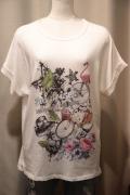 Italy ミックスプリント しっとり 半袖 Tシャツ