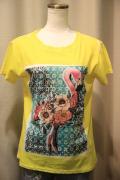 後プリント サブリメーション アート フラミンゴ プリント 半袖 Tシャツ