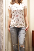 フェザー プリント サブリメーション バーナウト 半袖 Tシャツ
