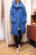 Italy ウール スライバーニット ビッグ襟 フード カラー コート