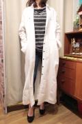 織柄切り替え ビッグポケット ロング シャツ コート