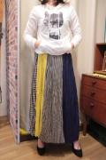 ギンガムチェック 8枚ハギ 柄切り替え ロング スカート
