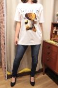 クマ アップリケ 半袖 Tシャツ