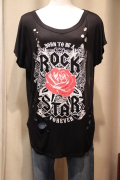 Rockプリント ブロークン ビッグ Tシャツ