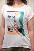 Paris 半袖 カットソー トップ