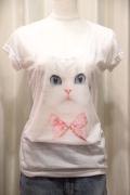 ネコ プリント スラブ Tシャツ