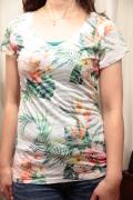 ゼブラ型 バーナウト トロピカル サブリメーション Tシャツ