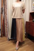 ランダムヘム 配色 サテン スカート