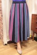配色 斜め ストライプ ソフト ニットソー フレア スカート