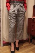 グレンチェック ストレッチ 布帛 すっきり ワイド パンツ