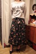 フラワープリント サテン ロング スカート
