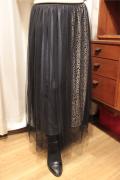 柄 配色 ダブル レイヤード チュール スカート