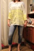 Italy 配色 グラデーション 箔プリント 長袖 Tシャツ