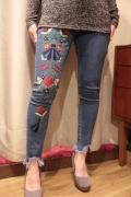 LA カラフル 刺繍 ストレッチ スキニー 裾カットオフ クロップド デニム パンツ