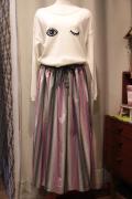 マルチ ストライプ 布帛 ロング スカート