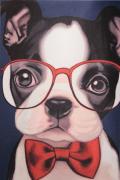 異素材切り替え メガネをかけた蝶ネクタイの犬 トップ