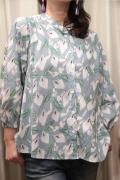 フラワープリント アシンメトリー シルエット ネール カラー変形 シャツ