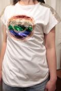 Italy キラキラスパンコール スマイル 半袖 Tシャツ