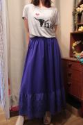 裾カットワーク 切り替え ロングスカート