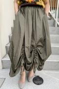 Italy シャーリング コンバーティブル 変形 ロング スカート