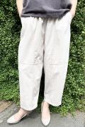 ヒザデル 裾タック ゆったり パンツ
