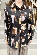 ファッション アイテム プリント サテン シャツ ブラウス