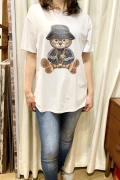 Italy チェーンネックレス クマ 半袖 Tシャツ