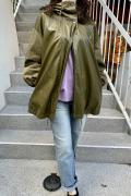 エコレザー 異素材 コンビ 柔らか ショート モッズ コート