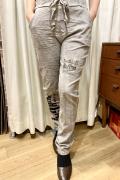 Italy スーパーストレッチ 裾プリント カットソー イージー パンツ