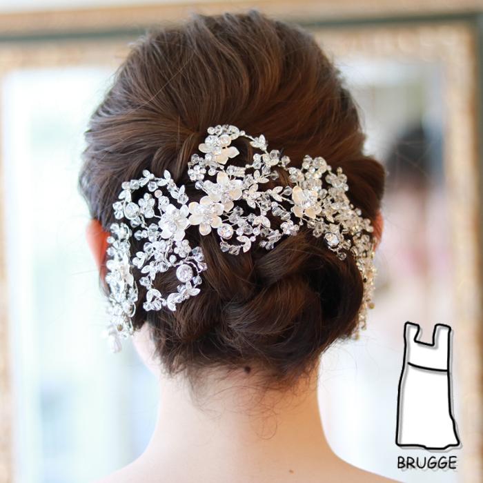 大ぶりブライダルヘッドドレス 髪飾りヘアアクセサリー B-355